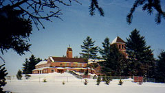 Monastery covered in snow.